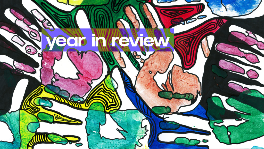 Year in review - colourful hand-drawn illustration of hands