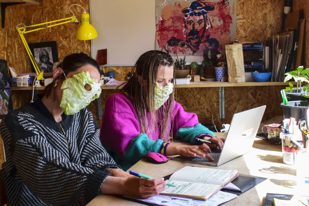 work in the office wearing cabbage masks